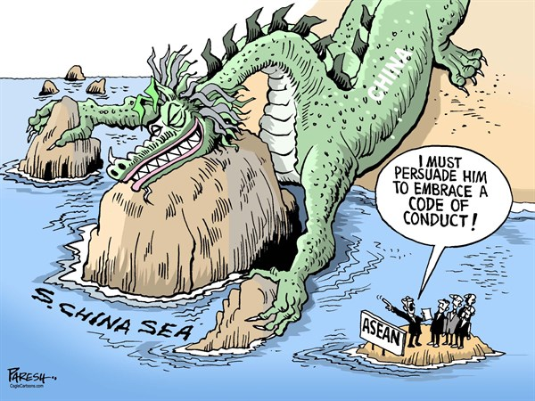 South China sea troubles © Paresh Nath,The Khaleej Times, UAE,South China sea, China dragon, ASEAN, Chinese coercion, expansionist, territory in sea, code of conduct, Chinese aggression< /> <p>