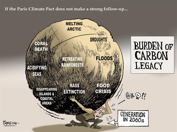Paresh Nath - The Khaleej Times, UAE - Carbon Legacy burden COLOUR - English - Earth Day, deforestation, cutting the woods, global warming, climate change, plant a sapling,  pollution, habitat destruction, coral death, melting arctic, acidifying seas, food crisis, mass extinction, disappearing islands, droughts, floods, Paris climat