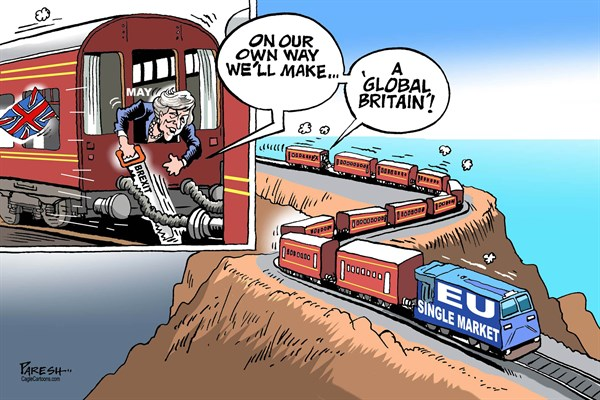 Paresh Nath - The Khaleej Times, UAE - May's Global Britain - English - British PM, Theresa May, Hard Brexit, Brexit path, confusion, train, bogey, Global Britain, EU Single market