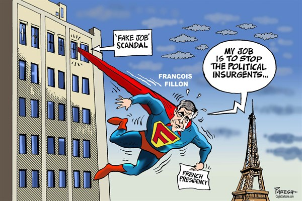 Paresh Nath - The Khaleej Times, UAE - Fillon in scandal - English - French election, scandals, Fillon, Superman, fake job scandal, Eiffel tower, political insurgents