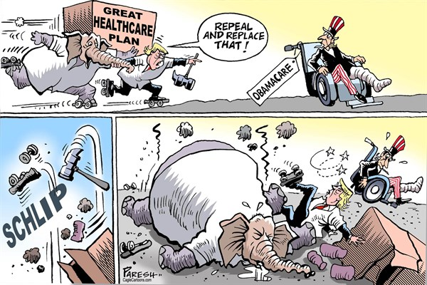 Paresh Nath - The Khaleej Times, UAE - Replacing Obamacare - English - Obamacare, repeal and replace, republican party, Trump healthcare, Trump failure, wheel chair