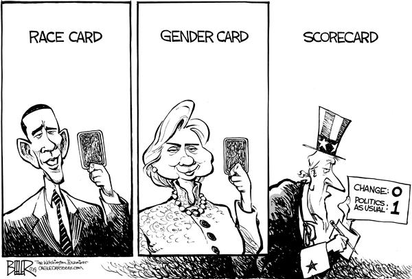 Nate Beeler - The Washington Examiner - Political Card Tricks - English - barack obama, hillary clinton, race, gender, card, scorecard, change, politics, usual, democrat, campaign, 2008, election, president, presidential, nomination