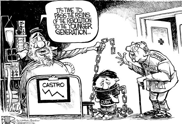 Nate Beeler - The Washington Examiner - Fidel Castro Resigns - English - fidel castro, raul castro, resign, cuba, president, communist, communism, reins, younger, generation, brother, leader, revolution
