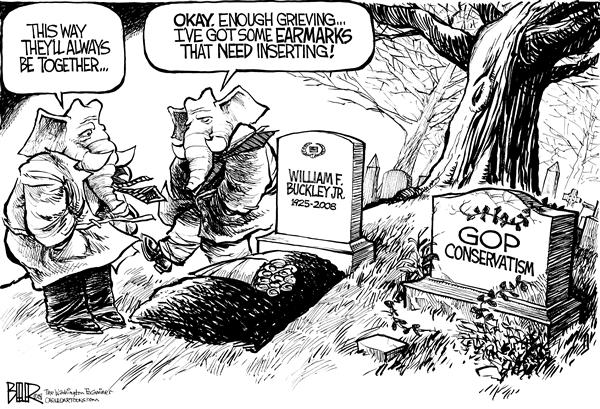 Nate Beeler - The Washington Examiner - William F Buckley RIP - English - william f buckley, gop, republican, conservatism, conservative, national review, death, died, dead, grave, cemetery, elephant, memorial, novelist, columnist