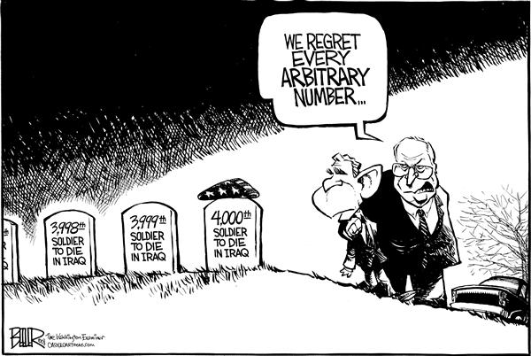 Nate Beeler - The Washington Examiner - Arbitrary Iraq Deaths - English - iraq, dead, deaths, casualties, arbitrary, number, regret, soldier, die, war, president bush, dick cheney