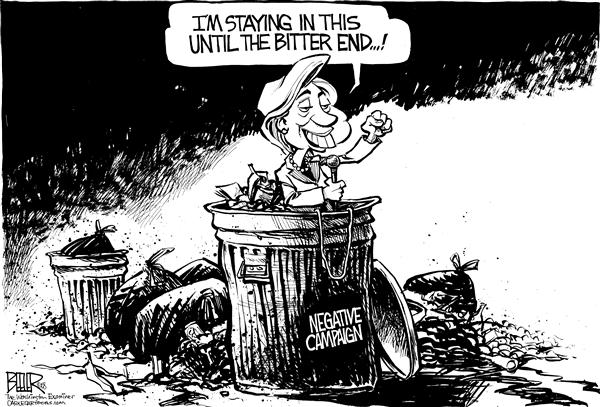 Nate Beeler - The Washington Examiner - Hillary Staying In It - English - hillary clinton, negative, campaign, democratic, democrat, party, race, 2008, politics, president, presidential, barack obama
