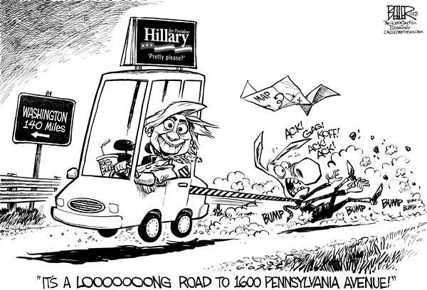 Nate Beeler - The Washington Examiner - On the Road With Hillary - English - hillary clinton, democrats, democratic, nomination, election, nominee, race, campaign, 2008, white house, president, presidential, pennsylvania, primary