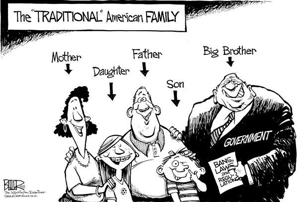 Nate Beeler - The Washington Examiner - Traditional American Family - English - gay, marriage, traditional, american, family, ban, law, regulation, mother, daughter, father, son, big brother, homosexual, same-sex, union, civil, domestic, partnership, government