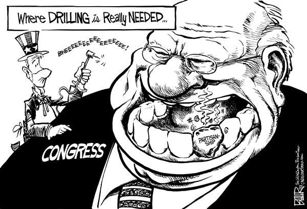 Nate Beeler - The Washington Examiner - Where to Drill - English - partisanship, politics, congress, congressman, politician, energy, drilling, oil, offshore, anwr, arctic national wildlife reserve, transportation, dentist, uncle sam, teeth, tooth, gas, gasoline