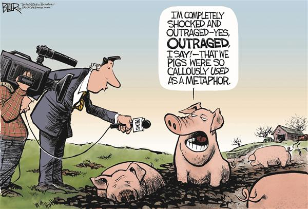 Nate Beeler - The Washington Examiner - The Pigs Respond COLOR - English - lipstick, pig, barack obama, john mccain, sarah palin, campaign, metaphor, expression, politics, election, 2008, president, presidential, race, media