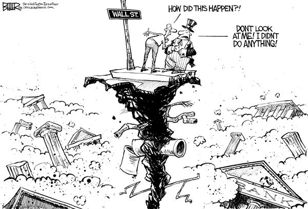 Nate Beeler - The Washington Examiner - Wall Street Collapse - English -