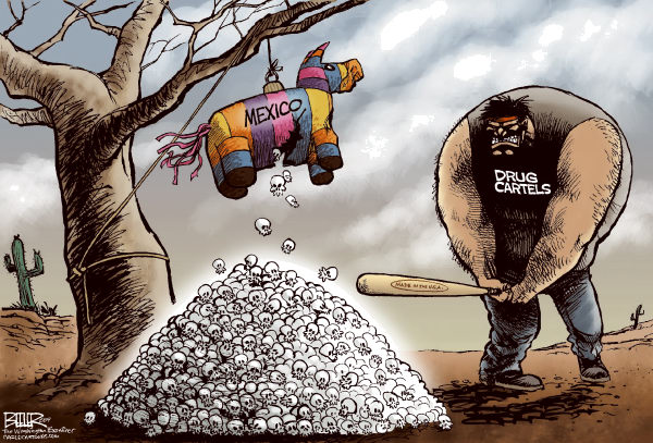 Mexican Piñata © Nate Beeler,The Washington Examiner,mexico, drug, cartel, cartels, trade, united states, america, violence, war, drugs, international