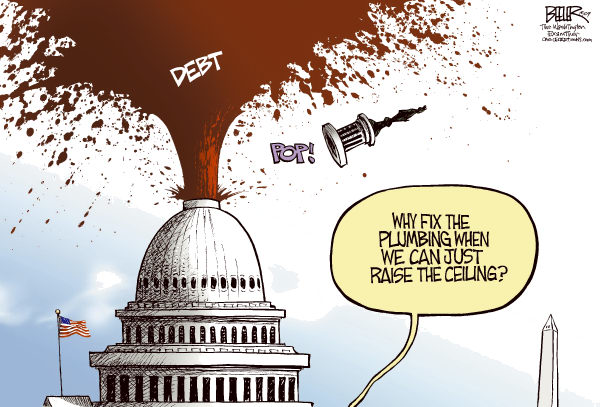 Debt Ceiling COLOR © Nate Beeler,The Washington Examiner,congress, debt, ceiling, spending, capitol, dome, politics, red ink, plumbing, gusher, government