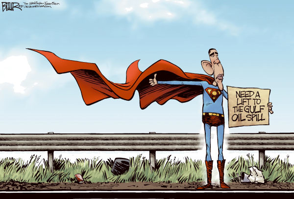 Superobama COLOR © Nate Beeler,The Washington Examiner,barack obama, superman, gulf, oil, spill, bp, president, hitchhiker, hitching, ride, response