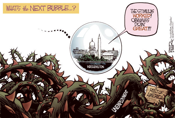 Nate Beeler - The Washington Examiner - The Next Bubble to Burst COLOR - English - washington, unemployment, jobs, stimulus, barack obama, bubble, dc, recession, economy, government, thorns, briar, bramble, politics