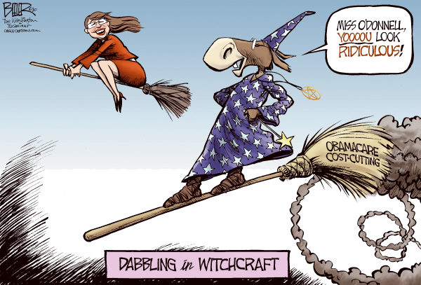 Nate Beeler - The Washington Examiner - Witchcraft COLOR - English - christine odonnell, democrats, gop, republican, tea party, delaware, congress, senate, politics, witch, witchcraft, broom, obamacare, health care, reform, cost