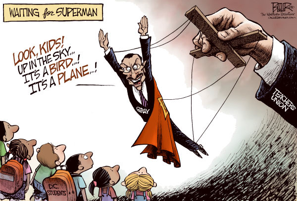 LOCAL DC - Waiting for Superman COLOR © Nate Beeler,The Washington Examiner,vincent gray, mayor, waiting for superman, teachers, union, bird, plane, dc, students, district of columbia, public schools, schools, education, reform, dcps, washington, kids, children, puppet, superman