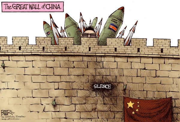 The Great Wall COLOR © Nate Beeler,The Washington Examiner,north korea, china, crazy kim jong il, great wall, missile, nuclear, silence, foreign affairs, war, bombs