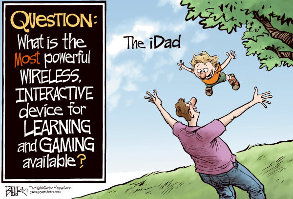 Nate Beeler - The Washington Examiner - Fathers Day COLOR - English - fathers day, holiday, ipad, idad, technology, dad, father, son, children, daughter, learning, gaming