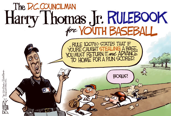 LOCAL DC - Harry Thomas Jr COLOR © Nate Beeler,The Washington Examiner,harry thomas, youth, baseball, dc, washington, council, district, district of columbia, councilman, fraud, embezzlement, corruption, graft, sports, stealing