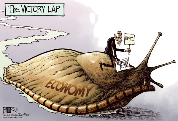 The Victory Lap COLOR © Nate Beeler,The Washington Examiner,barack obama, debt, limit, ceiling, economy, slug, victory, lap, unemployment, spending, government, deal, politics