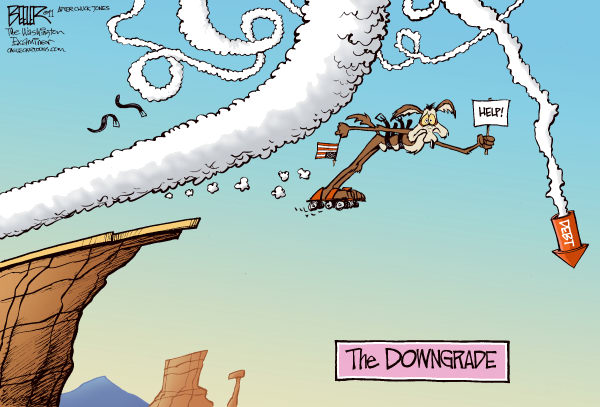 The Downgrade COLOR © Nate Beeler,The Washington Examiner,credit, aaa, rating, downgrade, standard and poor, wall street, debt, government, spending, wile, coyote, rocket, business, economy