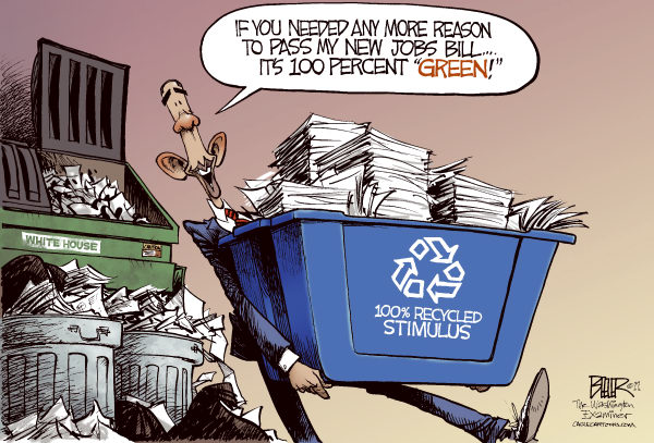 Green Jobs COLOR © Nate Beeler,The Washington Examiner,barack obama, stimulus, green, jobs, unemployment, bill, trash, recycled, recycling, economy, recession, politics