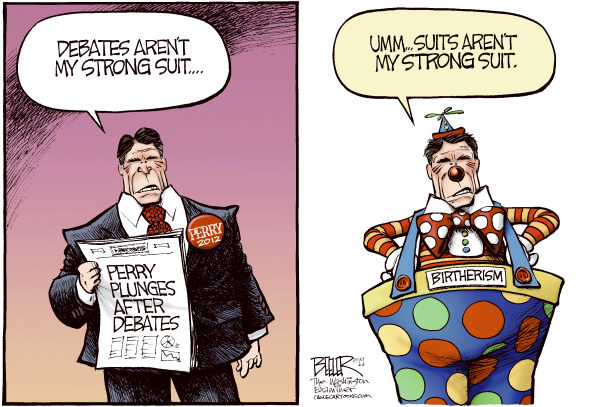 Perry the Clown COLOR © Nate Beeler,The Washington Examiner,rick perry, birther, birth certificate, barack obama, birtherism, governor, texas, gop, republican, presidential, candidate, debates, clown, campaign, 2012