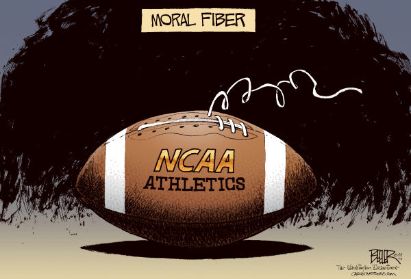 Nate Beeler - The Washington Examiner - College Sports Scandals COLOR - English - NCAA, college, athletics, football, moral, fiber, penn state, university, sports, scandal, joe paterno, jerry sandusky