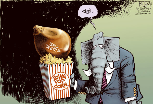 Nate Beeler - The Washington Examiner - Corny Candidates COLOR - English - iowa, gop, republican, caucus, popcorn, corn, kernel, candidate, ideal, mitt romney, 2012, campaign, politics, election, presidential, rick santorum, newt gingrich, ron paul, nomination