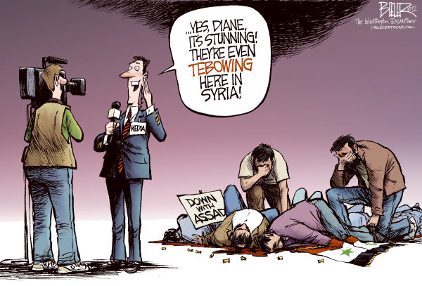 Tebow Mania COLOR © Nate Beeler,The Washington Examiner,tim tebow,football ,tebowing,broncos,denver,syria,assad,protest,protesters,media,news,foreign affairs,middle east,arab spring