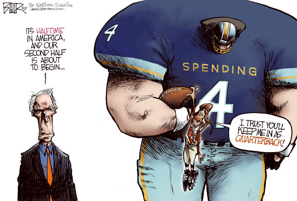 Second-Half QB Color © Nate Beeler,The Washington Examiner,clint eastwood, barack obama, super bowl, ad, commercial, chrysler, halftime, football, nfl, sports, spending, politics, campaign, 2012, quarterback, president, deficit, debt