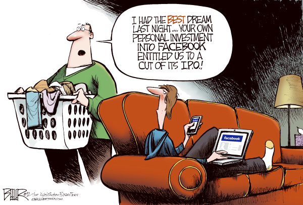 Facebook IPO COLOR © Nate Beeler,The Washington Examiner,facebook, ipo, wall street, stock, market, public, investment, computer, technology, internet, web, mark zuckerberg, youth, teens, children