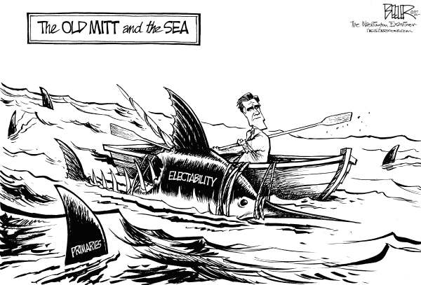 Nate Beeler - The Washington Examiner - Primary Problem - English - mitt romney, primaries, gop, republicans, republican, primary, politics, campaign, 2012, president, presidential, election, old man and the sea, hemingway, boat, fish, marlin, sharks, electability, election, candidate