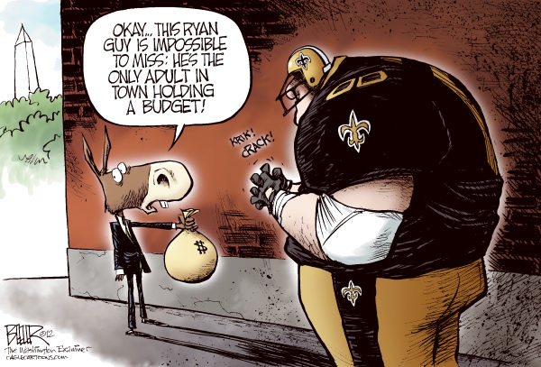 Ryan Bounty © Nate Beeler,The Washington Examiner,bounty, saints, football, budget, washington, dc, congress, democrats, republicans, paul ryan, spending, government, house, gop, sports