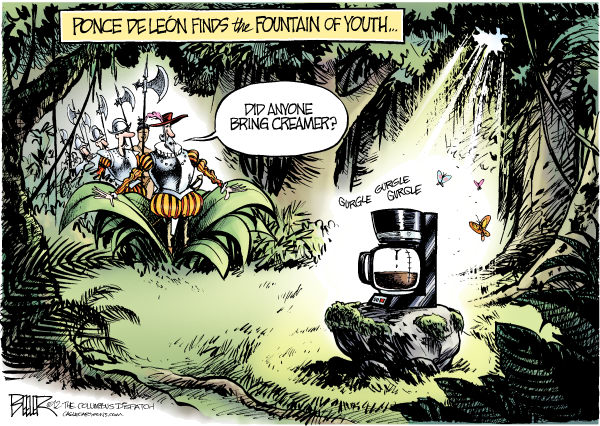 The Elixir of Life © Nate Beeler,The Columbus Dispatch,coffee, diet, health, fountain, youth, ponce de leon, life, longer, java, study