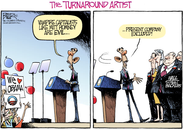 Nate Beeler - The Columbus Dispatch - Obama the Turnaround Artist COLOR - English - barack obama, mitt romney, wall street, vampire, capitalist, vulture, bain, capitalism, politics, campaign, 2012, donors, turnaround, artist, election