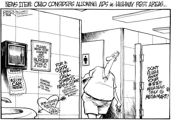 Nate Beeler - The Columbus Dispatch - LOCAL OH - Rest Area Ads - English - ohio, ad, advertising, rest, area, stop, transportation, odot, travel