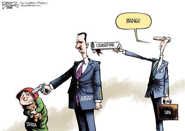 Nate Beeler - The Columbus Dispatch - UN and Assad COLOR - English - assad, syria, un, united nations, middle east, massacre, violence, ceasefire, gun, children