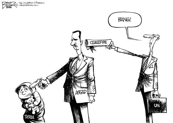 Nate Beeler - The Columbus Dispatch - UN and Assad - English - assad, syria, un, united nations, middle east, massacre, violence, ceasefire, gun, children