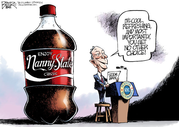 Nate Beeler - The Columbus Dispatch - Bloomberg Soda Ban COLOR - English - new york, city, nyc, mayor, michael, mike, bloomberg, soda, sugary, drink, ban, health, food, nanny, state, coke, pop, freedom, liberty, politics