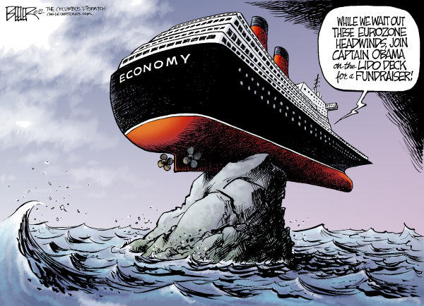 Nate Beeler - The Columbus Dispatch - Displeasure Cruise COLOR - English - barack obama,economy,campaign,fundraiser,ship,boat,euro,zone,europe,headwinds,2012