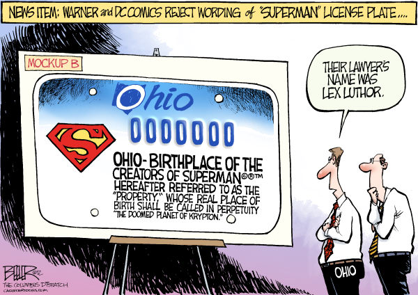 113803 600 LOCAL OH   Superman License Plate cartoons