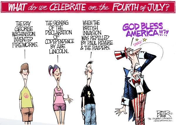 Nate Beeler - The Columbus Dispatch - July Fourth COLOR - English - july, fourth, holiday, independence, day, celebrate, history, youth, kids, children, america, united states, usa, us