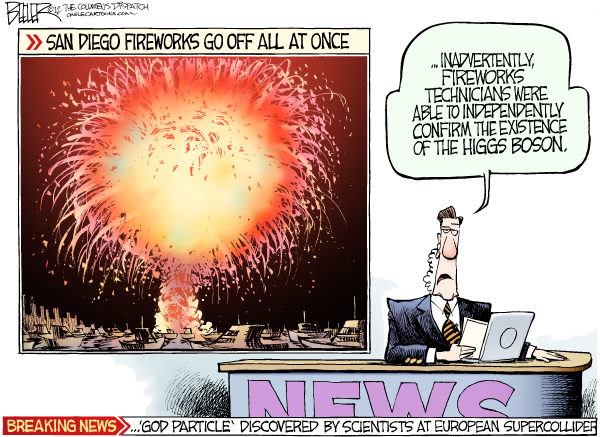 Nate Beeler - The Columbus Dispatch - Higgs Boson COLOR - English - higgs, boson, science, physics, quantum, god, particle, fireworks, fourth, july, holiday, san diego, fourth of july, independence day, scientist, cern, supercollider