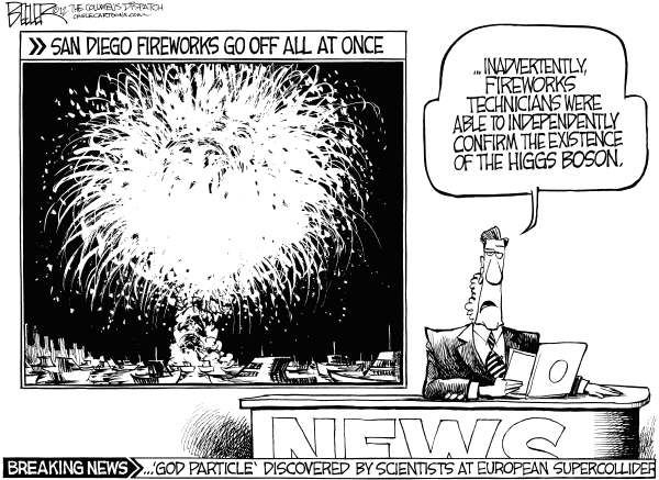 Nate Beeler - The Columbus Dispatch - Higgs Boson - English - higgs, boson, science, physics, quantum, god, particle, fireworks, fourth, july, holiday, san diego, fourth of july, independence day, scientist, cern, supercollider