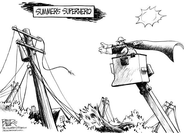 Nate Beeler - The Columbus Dispatch - Storm Hero - English - superman, power, lineman, line, electricity, storm, utility, worker, electric, pole, damage, summer, heat, weather