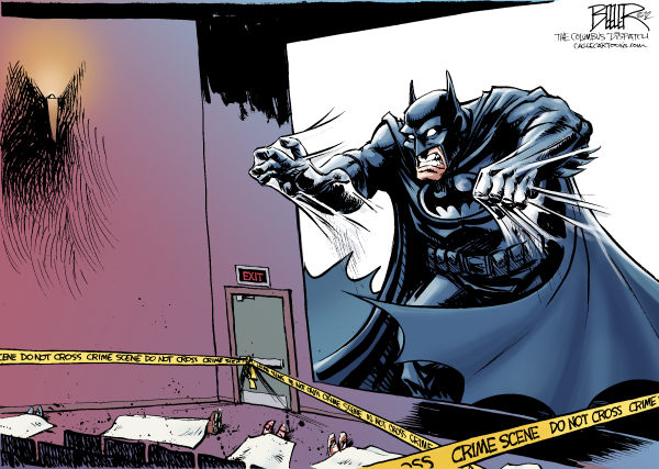 Nate Beeler - The Columbus Dispatch - The Aurora Shooting COLOR - English - batman, movie, dark, knight, rises, aurora, colorado, denver, shooting, james holmes, gunman, violence, crime, entertainment, film, guns, comic book, superhero