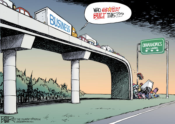 Nate Beeler - The Columbus Dispatch - Obama Built That COLOR - English - barack obama, business, obamanomics, highway, infrastructure, government, spending, build, economy, jobs, unemployment, taxes, politics, campaign, 2012