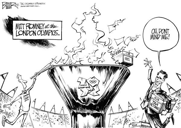 Nate Beeler - The Columbus Dispatch - Mitt at the Olympics - English - mitt romney, olympics, london, sports, campaign, 2012, election, taxes, tax, returns, torch, flame, politics